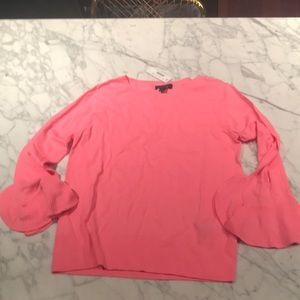 J crew pink sweater with ruffle sleeves nwt